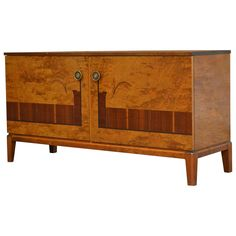 Swedish Art Deco Moderne Intarsia Sideboard Buffet Cabinet | From a unique collection of antique and modern sideboards at https://www.1stdibs.com/furniture/storage-case-pieces/sideboards/