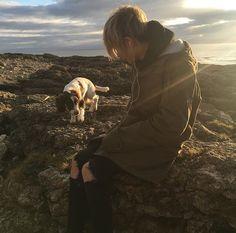 Leo with his dog, Yuki.