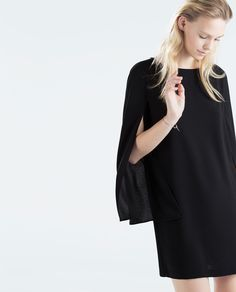 Imagem 4 de VESTIDO RETO COM MANGA CAPA da Zara <3