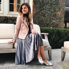 velvet pleated skirt, gucci silver pumps, blanknyc blush leather moto jacket