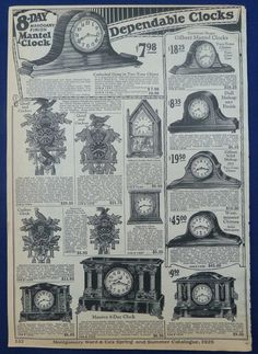 Mantel Clocks 1926 Montgomery Ward Catalog Ad | eBay