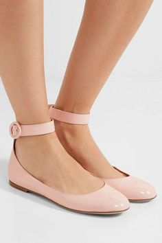 Gianvito Rossi - Patent-Leather Ballet Flats in Pink