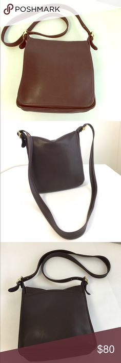 """Vintage Coach Brown Leather Cross body flap bag A beautiful vintage Coach bleeker chocolate brown leather bag can be worn Cross body. 10.5"""" tall x 9.5"""" wide x 3"""" deep, up to 25"""" strap drop. Good vintage condition showing light signs of use. No Trades!! Coach Bags Crossbody Bags"""