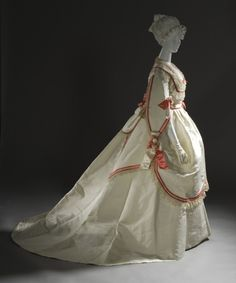Woman's Four-Piece Ball Gown, Europe, circa 1868. Silk taffeta with silk satin and linen lace trim.