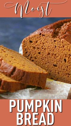 Moist Pumpkin Bread Recipe: easy to make & just sweet enough -Baking a Moment Healthy Bread Recipes, Banana Bread Recipes, Pumpkin Recipes, Baking Recipes, Dessert Recipes, Desserts, Starbucks Pumpkin Bread, Pumpkin Loaf, Moist Pumpkin Bread