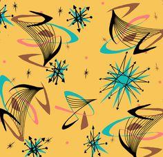 Kitchen chair redux or table runner: Starburst wallpaper or Barkcloth - Atomic Age influence Retro Art, Mid-century Modern, Kitsch, Retro Fabric, Vintage Fabrics, Atomic Age, Mid Century Art, Mid Century Modern Design, Mid Century Modern Fabric