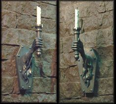 Miniature scale Castle Wall Sconces by Creager Studios. the old movie Beauty and the Beast by Jean Cocteau had these lining the walls, and they moved! Haunted Dollhouse, Haunted Dolls, Dollhouse Miniatures, Dollhouse Ideas, Haunted Houses, Halloween Miniatures, Halloween Doll, Halloween Crafts, Halloween Diorama