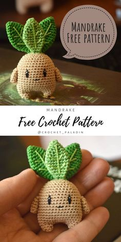 Made with some really fine yarn this Mandrake is very small, it's about cm tall without leaves). This amigurumi will be a perfect gift for a friend who is a fan of Harry Potter books. Free crochet pattern generously shared by Kawaii Crochet, Cute Crochet, Crochet Crafts, Yarn Crafts, Crochet Amigurumi Free Patterns, Crochet Dolls, Knitting Patterns, Yarn Projects, Knitting Projects