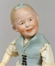 Heubach 8050 Bisque Socket Head Smiling Girl Doll, Germany, c. 1910