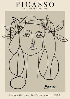 Kunst Picasso, Picasso Prints, Pablo Picasso Drawings, Picasso Art, Picasso Paintings, Art Drawings, Drawing Faces, Picasso Tattoo, Pablo Picasso Zeichnungen