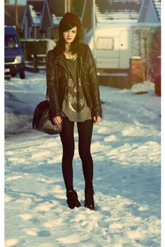 black suede wedge booties, oxblood beanie, skull t, tights and a moto jacket. this is how you do winter