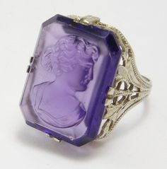 10k edwardian filigree amethyst glass cameo ring