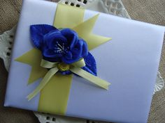 Wedding Guest Book  Royal Blue Rose with Yellow by crafting4u, $30.00