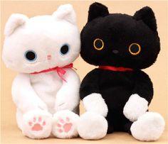 black Kutusita Nyanko cat with movable legs plush toy