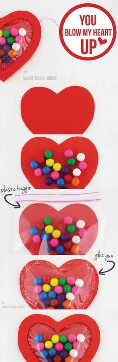 Corazón con caramelos.