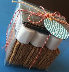 "A s'more gift box. Love this for a Pop-By gift. Use a tag that says ""I'm never too busy for s'more of your referrals!"""