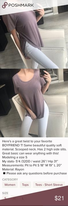 "RE-POSH Side Slit Boyfriend T size medium. re-posh from @mysisterskloset, all photos & description belong to her. such a fun t-shirt! 8"" high side slits, scoop neck, and such a pretty lavender color! 💜 only re-poshing because the side slots come up a little too high for me & i don't like showing that side of my stomach 🙈 brand new, without tags (didn't come with them), never worn!  ✅PRICE IS FIRM  🚫NO TRADES Boutique Tops Tees - Short Sleeve"