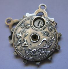 Antique Art Nouveau Silver German Calendar Wheel Girl Charm Pendant Moves