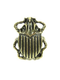 Rhino Beetle Ring Size 7 Egyptian Scarab Gold Jungle Insect Cocktail Fashion Jewelry