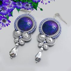 Bright gray and blue Soutache earrings with by OnlyLauraDesign