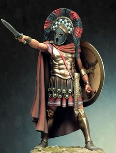 Spartan hoplite wearing a heroic cuirass and corinthian helmet, armed with a hoplon shield and a xiphos sword.