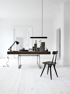 Interior Design Inspirations, Home Office White Workspace With Dark Wood  Desk,, Italian Bark
