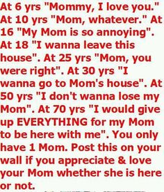Regret...I miss my mom............