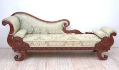 Century Empire Recamier or Fainting Couch in Mahogany with Upholstery – Wood Couches