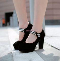 Women Block High Heels Platform Pumps Ankle Strap Party Shoes Plus Size Cc65