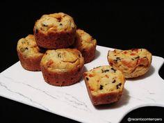 Recanto com Tempero: Muffins de chourição e azeitonas Scones, Tarts, Breads, Brazilian Recipes, Breakfast, Portuguese, Spices, Olives, Desserts