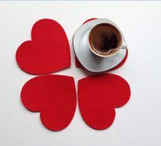 Kırmızı Kalp Bardak Altlığı