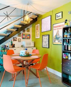 Sep 10, 2020 - Discover recipes, home ideas, style inspiration and other ideas to try. Retro Apartment, Colorful Apartment, Colourful Home, Colorful Rooms, Colorful Interiors, Apartment Design, Navy Blue Dining Chairs, Modern Dining Chairs, Orange Dining Room