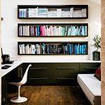 Bookshelves built in between studs.