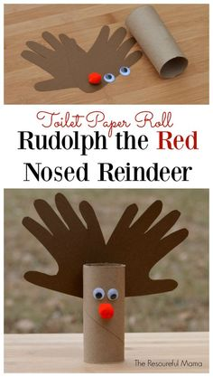 Paper Roll Reindeer Kid Craft Rudolph the Red Nosed Reindeer Kid Craft using toilet paper roll. Great handprint kid craft for Christmas.Rudolph the Red Nosed Reindeer Kid Craft using toilet paper roll. Great handprint kid craft for Christmas. Preschool Christmas, Christmas Activities, Christmas Crafts For Kids, Christmas Projects, Diy Crafts For Kids, Holiday Crafts, Fun Crafts, Christmas Diy, Craft Ideas