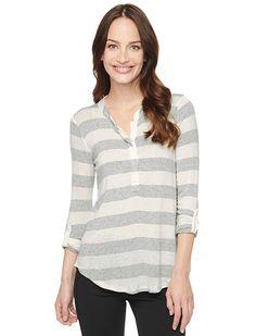 Splendid Official Store, Stripe Drapey Lux Henley, heather grey, Womens : Tops : 3/4 Sleeve, ST8154X2