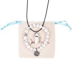 Rare Healing White Turquoise Bracelet and Necklace Set