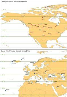 Overlay of European cities onto North America - North American cities onto Eurasia & Africa