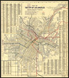 Los Angeles Railway Systems - 1906.   The Travel and Hotel Bureau of Los Angeles printed this map for visitors in 1906. At this time, a tourist would have been able to see much of downtown LA by rail. Multiple systems crisscrossed the city and offered access to suburban points of interest.