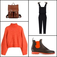 Jumper in a wool blend @hm ~~ Black criss cross strap split jumpsuits @sheinside ~~ Vintage fashion solid PU bacpack @OasapOfficial ~~ Neon boots caucho marron #neonboots