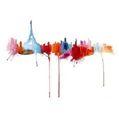 Paris skyline in Watercolour