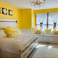 32 Beautiful Yellow Bedroom Decor Ideas You Will Love - The bedroom is the first room that we see when we wake up in the morning and the last before we go to sleep. The colors that we use in our bedroom dec. Room Design Bedroom, Bedroom Wall Colors, Bedroom Furniture Design, Home Room Design, Room Ideas Bedroom, Home Decor Bedroom, Yellow Walls Bedroom, Indian Bedroom Decor, Indian Home Decor