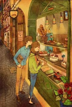 "These Heartwarming Korean Drawings Show What Love Is Really About By Korean artist ""Puuung"" Couple Illustration, Illustration Art, Puuung Love Is, Art Amour, Art Magique, What's True Love, Art Anime, Korean Artist, Couple Art"
