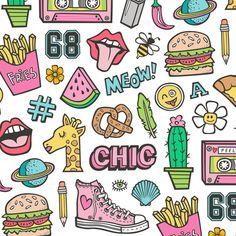 90's Vintage Patches Stickers Doodle Audio Tape, Cactus, Watermelon, Pizza, Hamburger, Fries