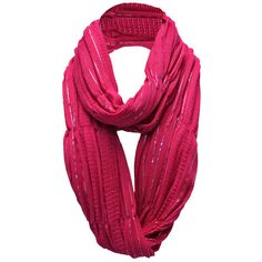 Hot Pink Fine Knit Silver Metallic Ring Scarf ($18) ❤ liked on Polyvore featuring accessories, scarves, hot pink, hot pink infinity scarf, tube scarves, tube scarf, long infinity scarf and long scarves