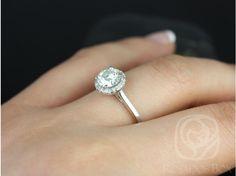 Rosados Box Amerie 6.5mm 14kt White Gold Round F1- Moissanite and Diamonds Halo Engagement Ring