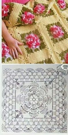 Discover thousands of images about Crochet motif chart patterncrochet square pattern Crochet Bedspread Patterns Part 17 - Beautiful Crochet Patterns and Knitting Patterns - Crochet Bedspread Patterns Part Granny Square Rose SThis Pin was discove Crochet Bedspread Pattern, Crochet Mandala Pattern, Crochet Motifs, Crochet Quilt, Granny Square Crochet Pattern, Crochet Flower Patterns, Crochet Stitches Patterns, Doily Patterns, Crochet Chart
