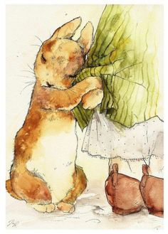 Beatrix Potter watercolor of Peter Rabbit. This is absolutely adorable!Beatrix Potter is a favorite author and Peter Rabbit is one of my favorite characters. Where I learned about chamomile tea!As a young girl i used to be so in LOVE w Beatrix Potter & Pe Art And Illustration, Book Illustrations, Rabbit Illustration, Beatrix Potter Illustrations, Watercolor Illustration, Illustration Children, People Illustration, Lapin Art, Graphic Art Prints