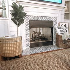 fireplace surround tile stickers 24 Tiles Decals Tiles Stickers mixed Tiles for walls Kitchen Bathroom fliesenaufkleber Tile Around Fireplace, Fireplace Tile Surround, Fireplace Update, Brick Fireplace Makeover, Farmhouse Fireplace, Fireplace Hearth, Home Fireplace, Fireplace Remodel, Fireplace Surrounds