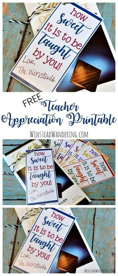 Snag a free teacher appreciation printable in a bunch of fun colors. Find inexpensive gift ideas from a teacher, too! Snag a free teacher appreciation printable in a bunch of fun colors. Find inexpensive gift ideas from a teacher, too! Teacher Valentine, Teacher Christmas Gifts, Birthday Gift For Teacher, Teacher Thank You Gifts, Teacher Presents, Valentine Gifts, Teacher Treats, Little Presents, Teacher Appreciation Week