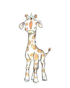 Children's Art  Royal Giraffe  Archival Print by trafalgarssquare, $10.00